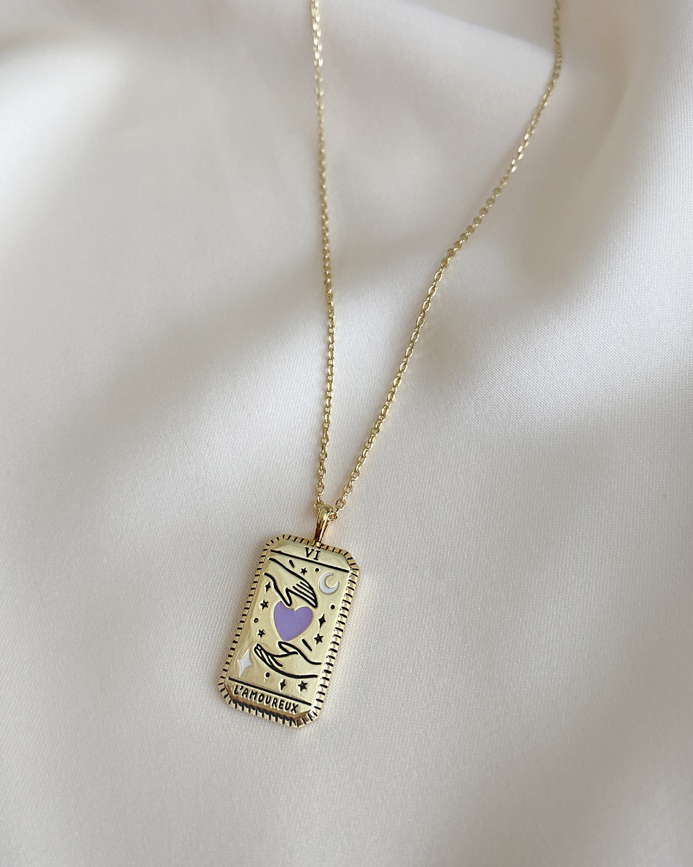 Wanderlust + Co L'Amoureux Gold Tarot Necklace Jewellery Gold