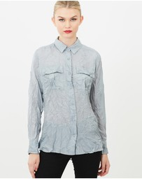 SIYONA - Crinkled Long Sleeve Silk Collar Shirt