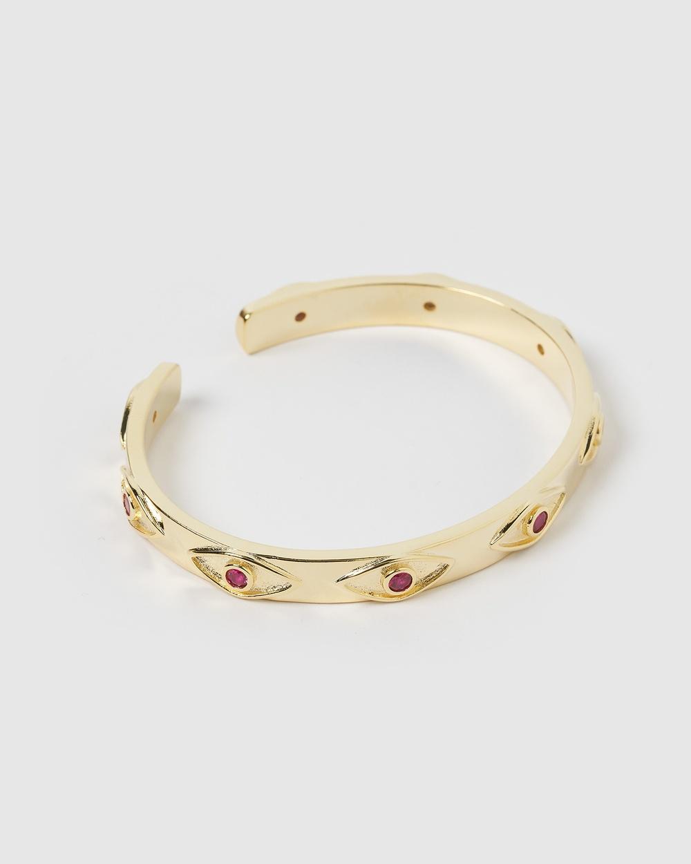 Izoa Malta Eye Pink Gold Cuff Bracelet Jewellery Gold