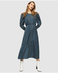 TOPSHOP - Long Sleeve Print Midi Dress