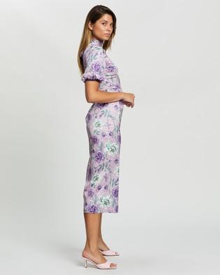 Glamorous High Neck Floral Midi Dress - Dresses (Lilac Aqua Bloom)