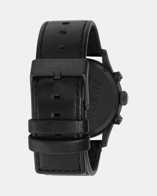 Nixon - Sentry Chrono Leather Watch - Watches (Matte Black, Gold & Black) Sentry Chrono Leather Watch
