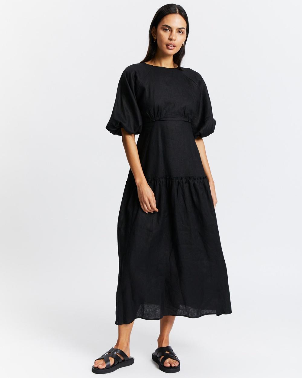 AERE Tie Back Linen Tea Dress Dresses Black