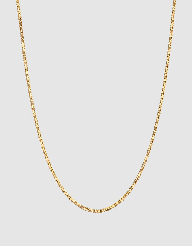 Women Necklace Curb Chain Minimalist Basic Trend in 925 Sterling Silver Gold Plated