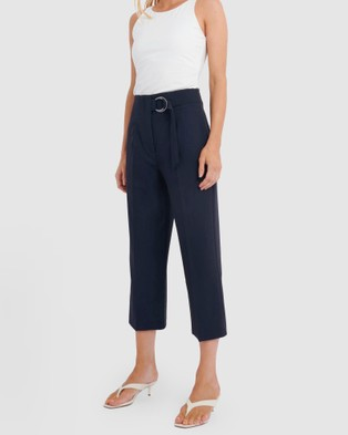 Forcast Rory High Waisted Belted Pants - Pants (Navy)