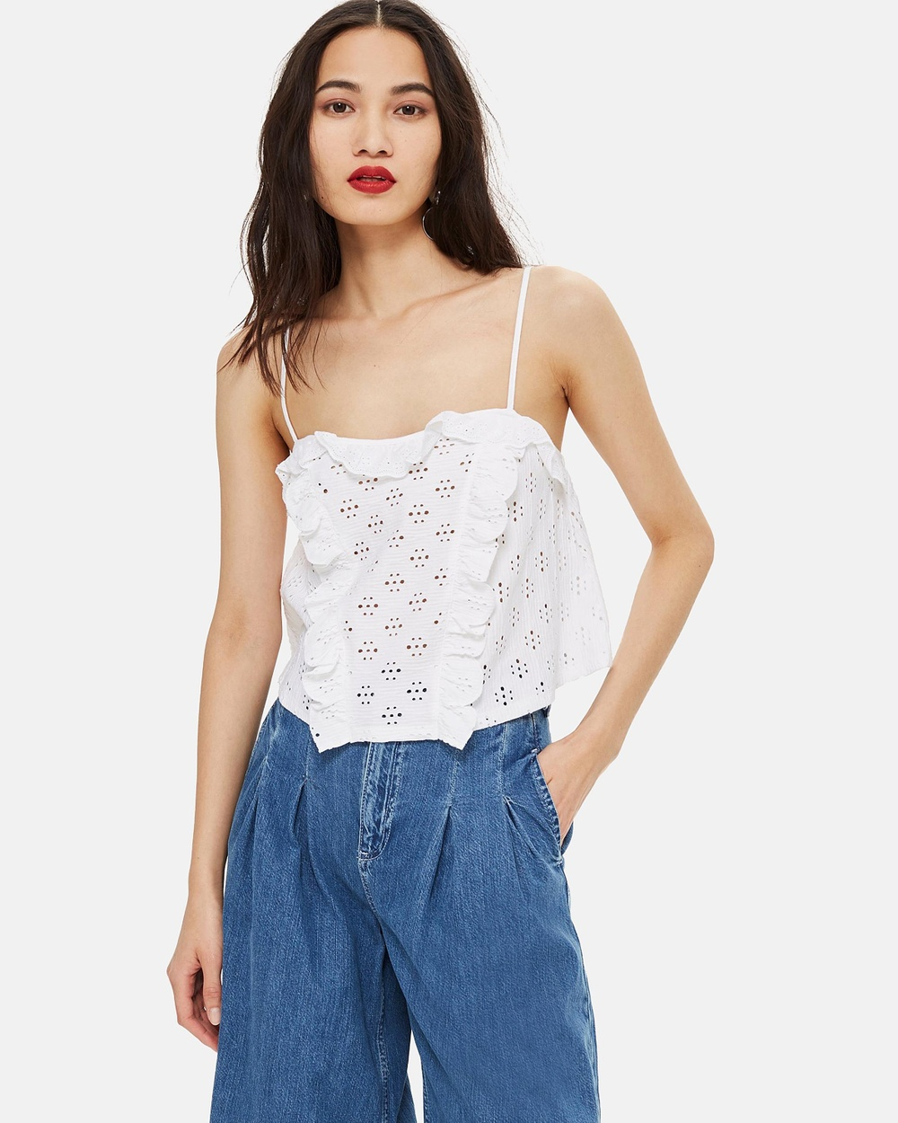 TOPSHOP Broderie Trim Camisole Top Tops White Broderie Trim Camisole Top