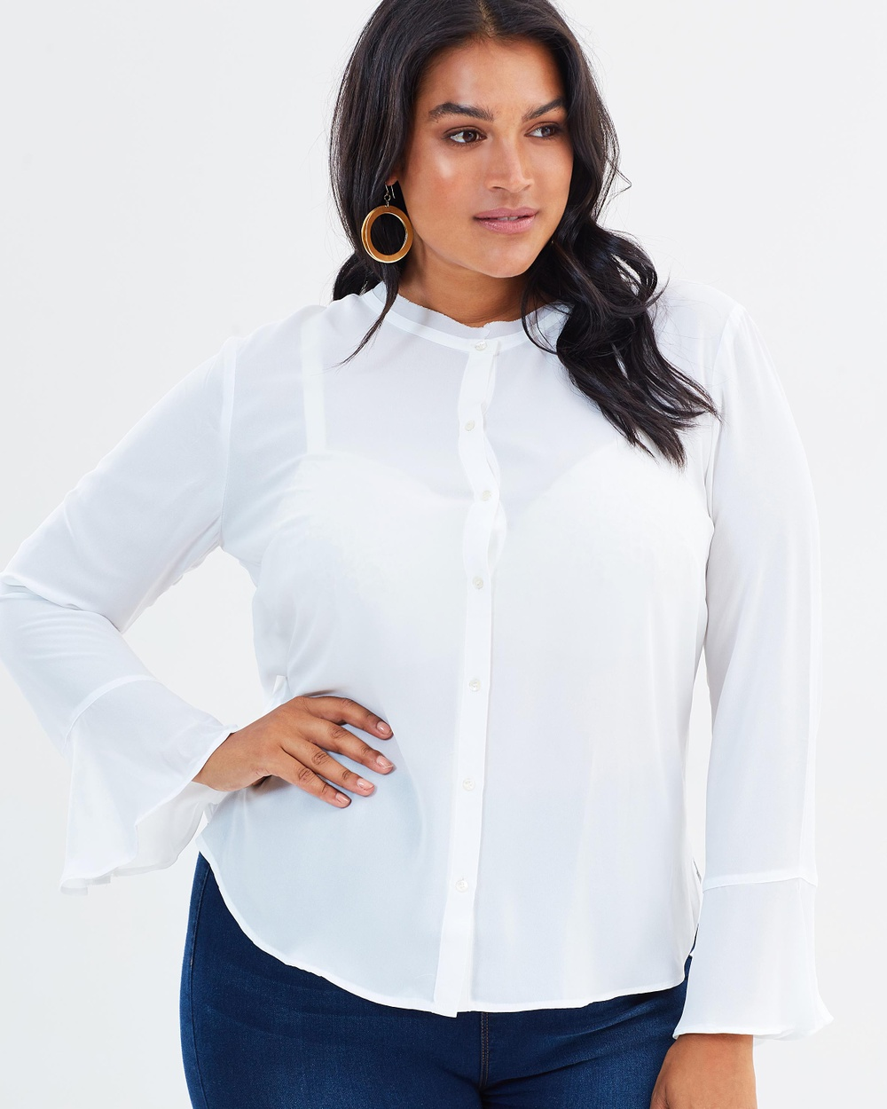 Violeta by MNG Macro Blouse Tops White Macro Blouse