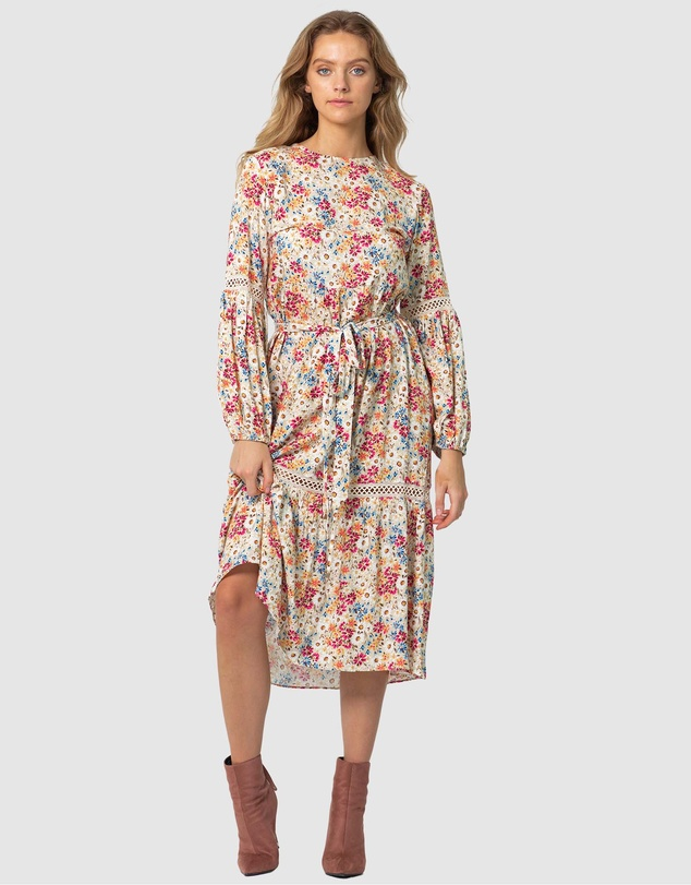 70s Clothes | Hippie Clothes & Outfits Light Meadow Floral Clovelly Midi Dress AUD 189.99 AT vintagedancer.com