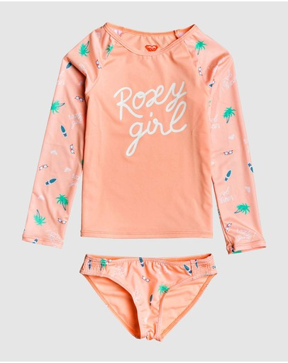 Roxy - Girls 2-7 Salty But Sweet LS UPF 50 Rash Vest Set