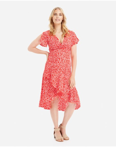 Glow Mama Holly Wrap Dress Red Floral