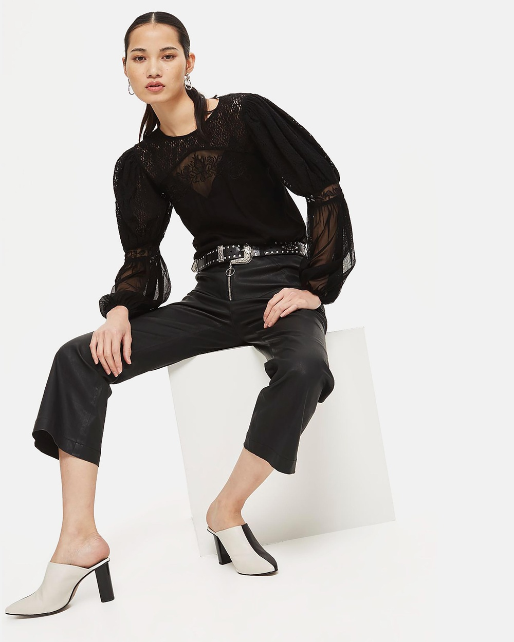 TOPSHOP Lace Mix Blouson Top Tops Black Lace Mix Blouson Top
