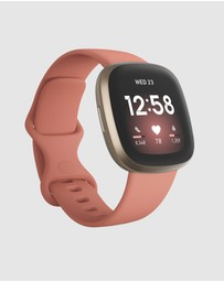 Fitbit - Fitbit Versa 3 Pink Clay Gold