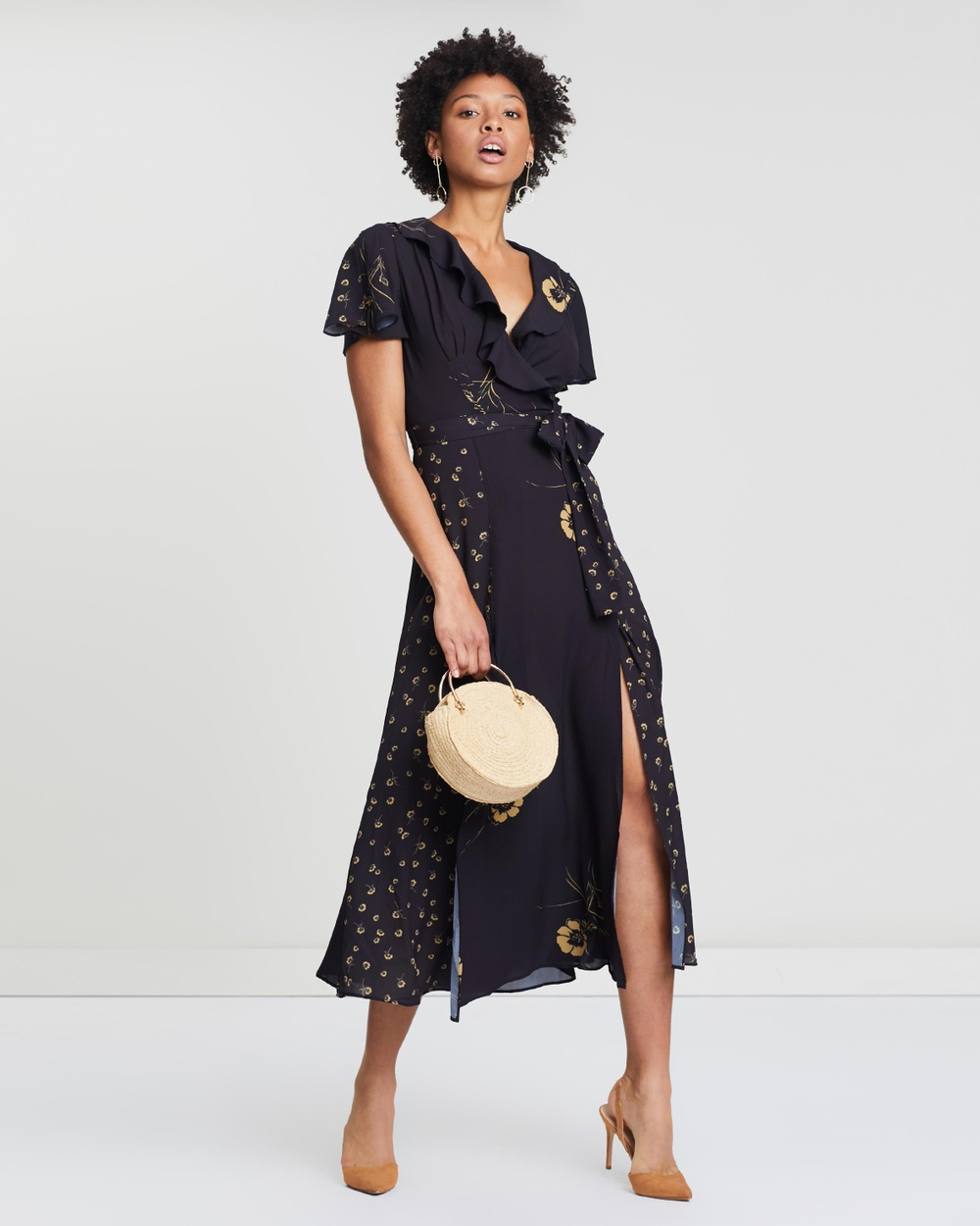 French Connection Utility Blue & Gold Mahi Crepe Belted Maxi Dress