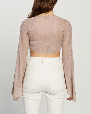 Missguided Tie Front Metallic Co Ord Top - Cropped tops (Pink)