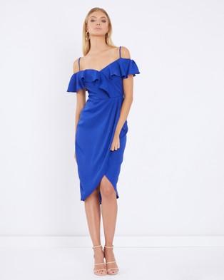 Tussah – Pharo Ruffle Midi Dress – Bridesmaid Dresses Blue