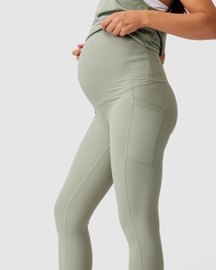 Cotton On Body Active Maternity Rib Pocket 7 8 Tights - 7/8 Tights (Basil Green)