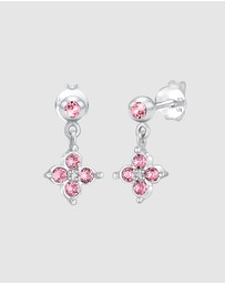 Elli Jewelry - Kids - Earrings Children Flower Pink with Swarovski® Crystals in 925 Sterling Silver
