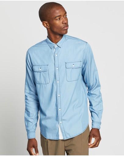 Justin Cassin Cape Cotton Shirt Blue