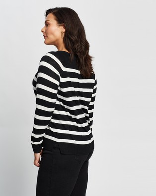 Atmos&Here Curvy Cleo Lightweight Knit - Jumpers & Cardigans (Black Stripe)