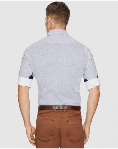 Tarocash Asher Stretch Geo Shirt White