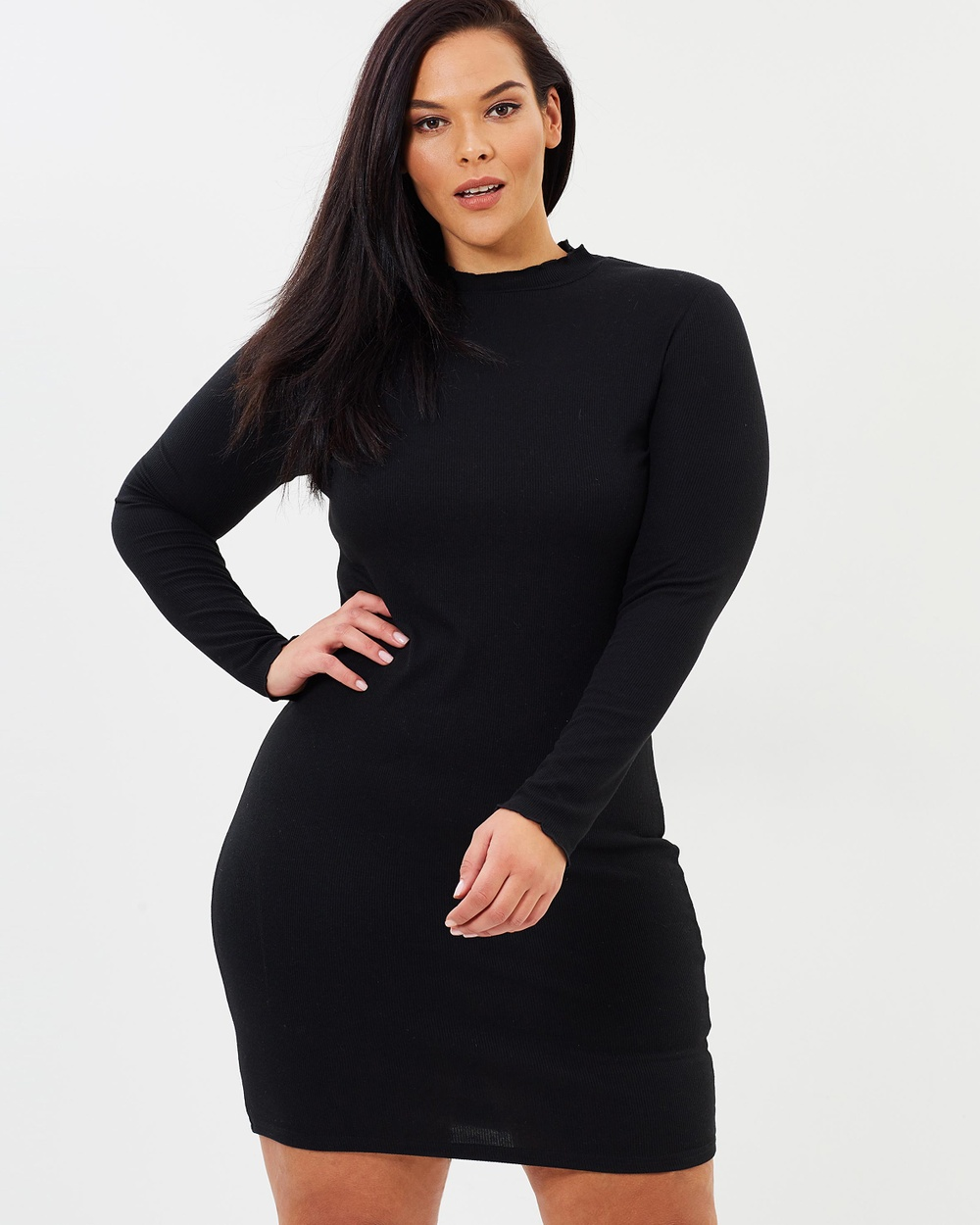 Atmos & Here Curvy ICONIC EXCLUSIVE Essential Ribbed Body Con Dress Bodycon Dresses Black ICONIC EXCLUSIVE Essential Ribbed Body-Con Dress