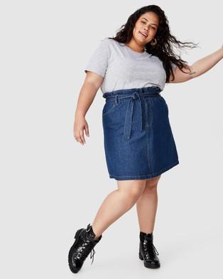 Cotton On Curve Paperbag Denim Skirt - Denim skirts (Mid Blue)