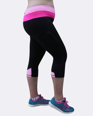 Curvy Chic Sports Two Tone Sculpt Pocket Tights - 3/4 Tights (Black)