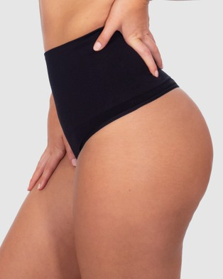 B Free Intimate Apparel Power Shaping Thong - Lingerie Accessories (Black)