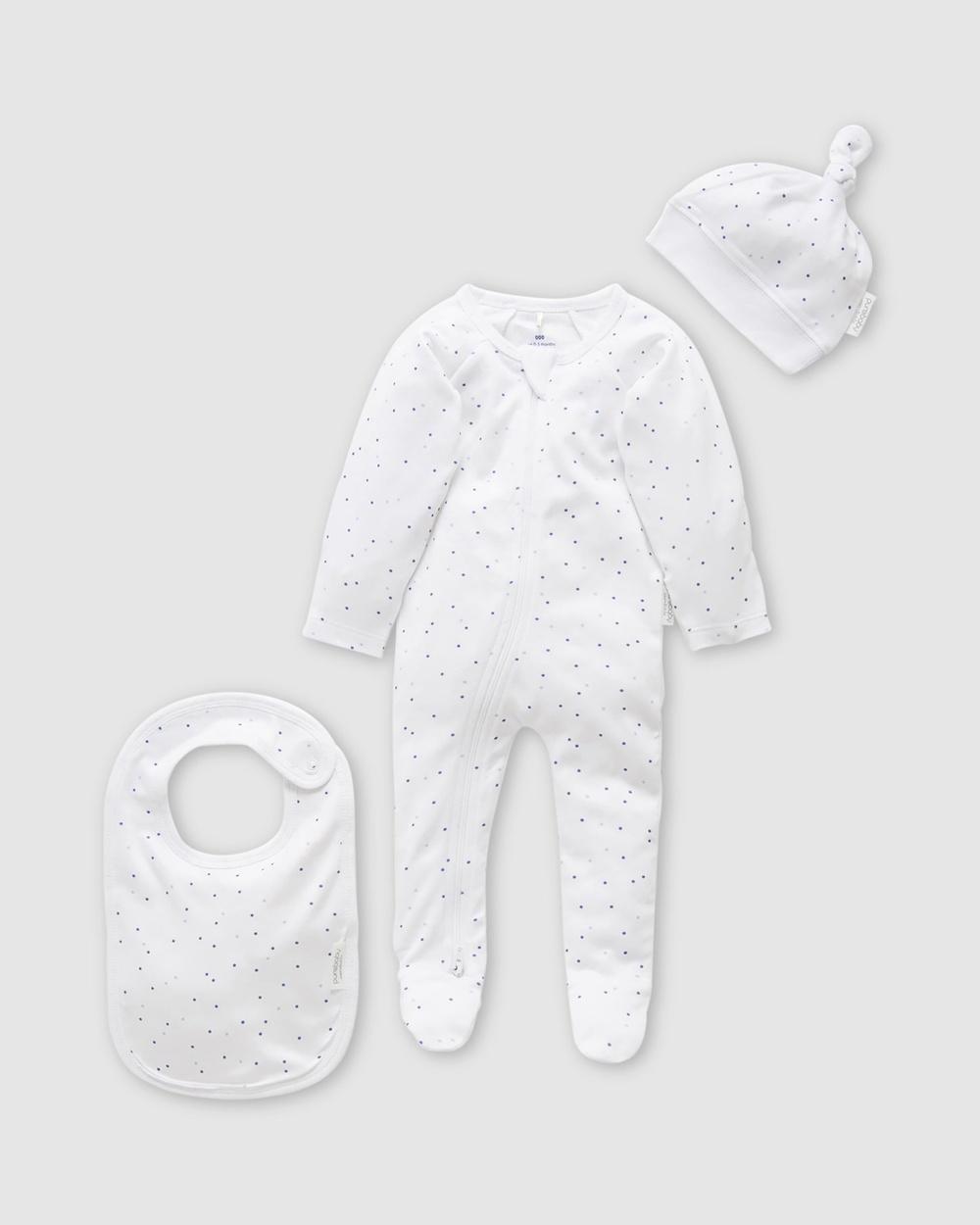 Purebaby 3 Piece Set Babies Bibs Pale Blue Spot 3-Piece Australia