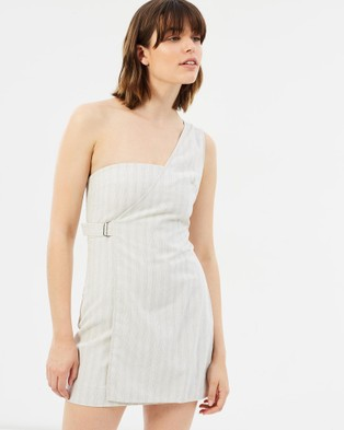 Third Form – The Catch Linen One Shoulder Dress beige