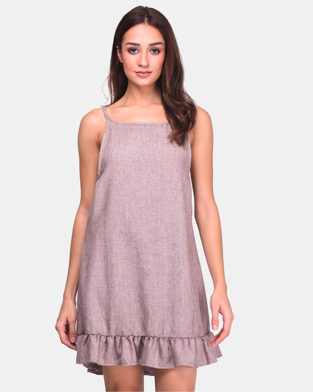 BoyFromBlighty Tan Linen Cotton Hang Dress