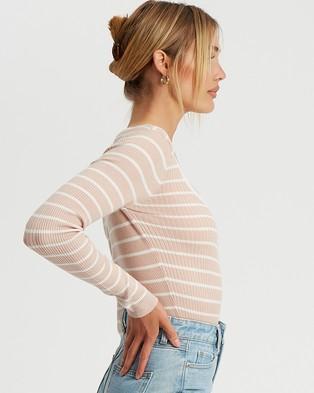 Savel Elsbeth Knit Crop - Tops (Nude & White Stripe)