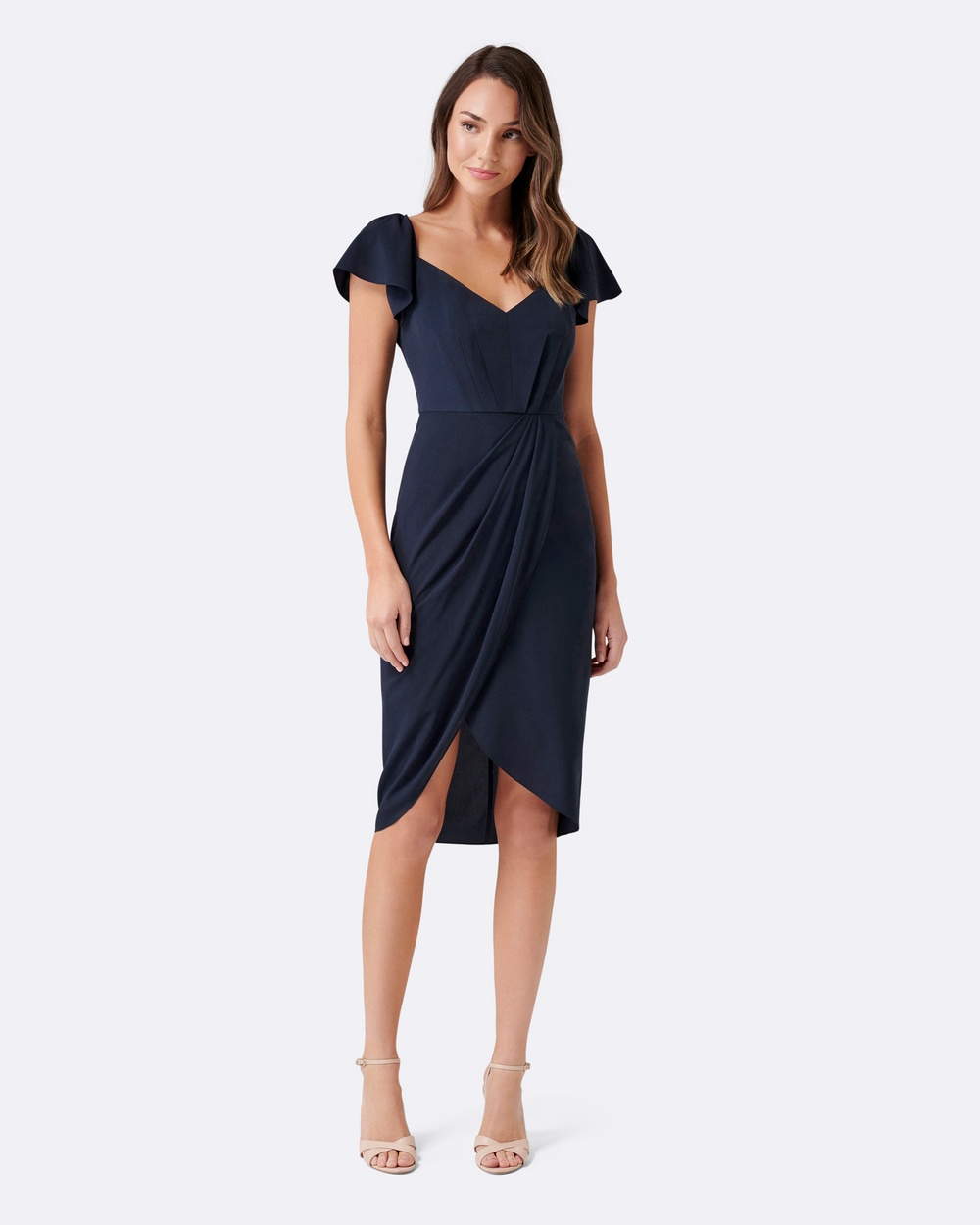 Forever New Elanor Cap Sleeve Drape Dress Bridesmaid Dresses Navy Elanor Cap Sleeve Drape Dress