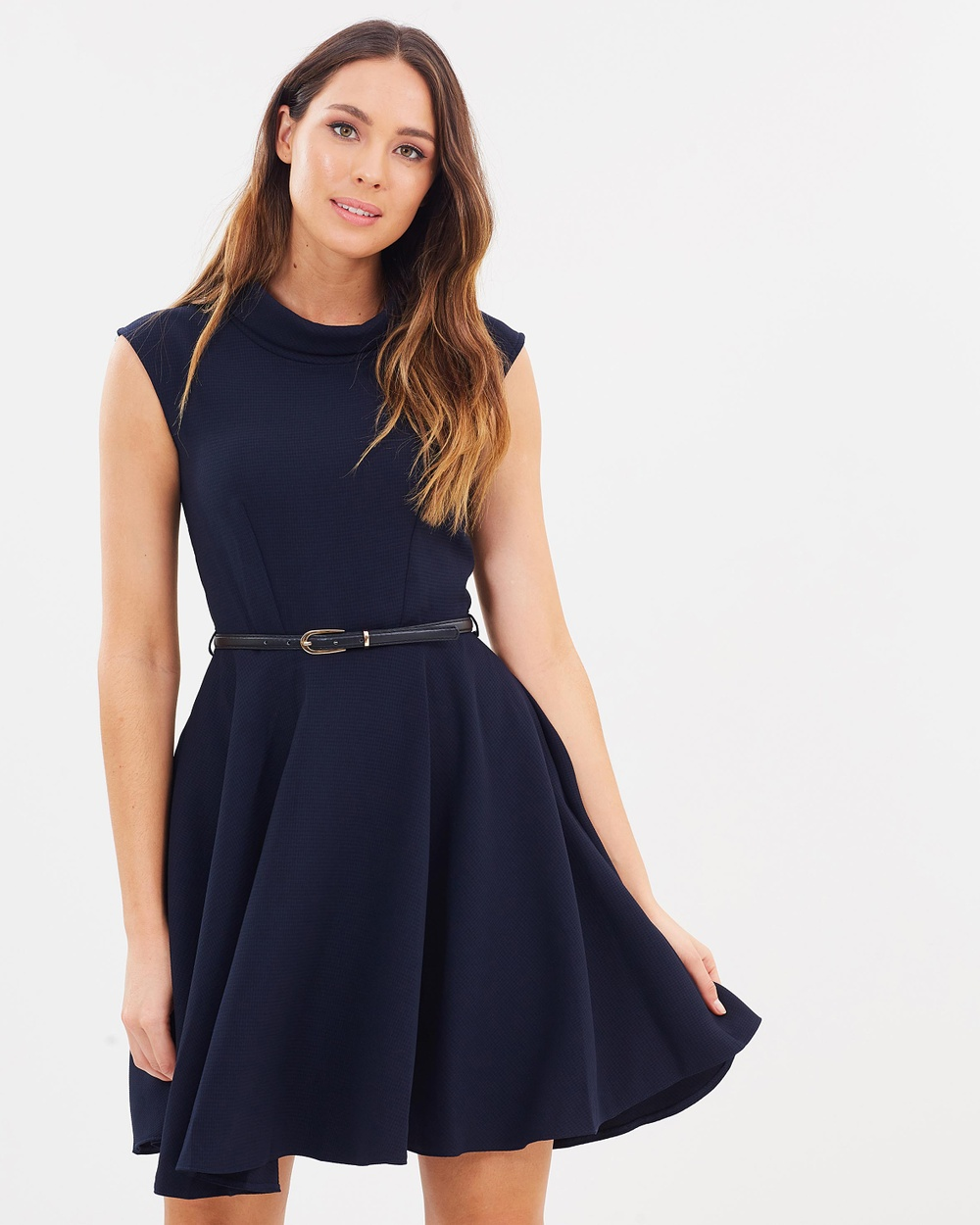 Closet London Stand Collar Skater Dress Dresses Navy Stand Collar Skater Dress