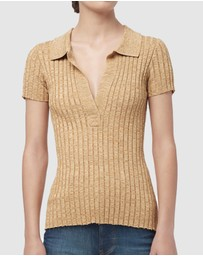 Manning Cartell - Mixed Stitches Knit Polo Top