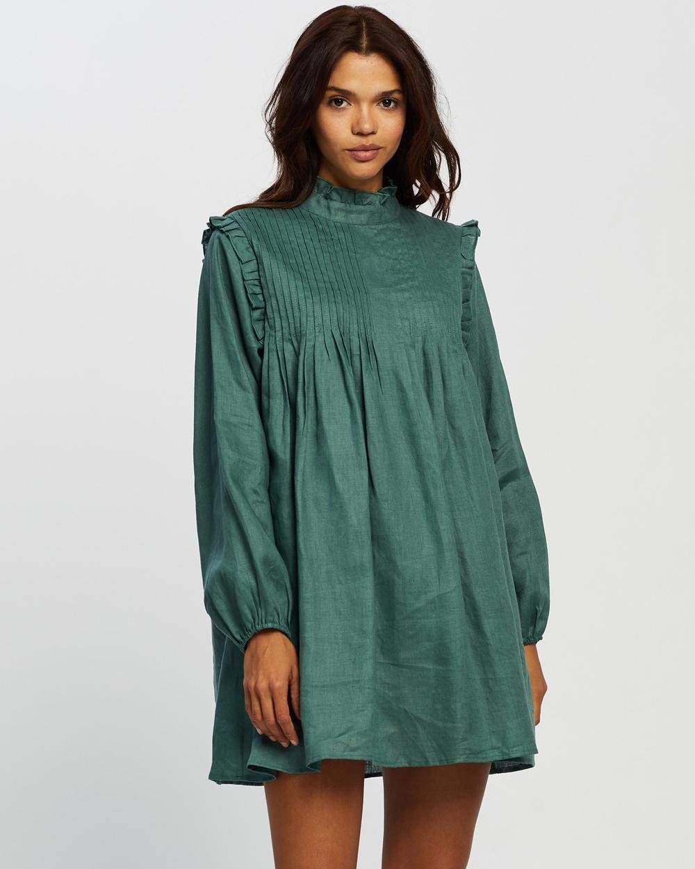 AERE Pleat Front Linen Smock Dress Dresses Botanical Green Australia
