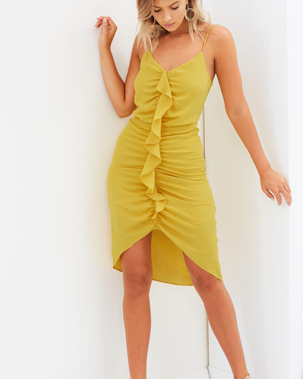Atmos & Here ICONIC EXCLUSIVE Magnolia Gathered Frill Dress Dresses Sunflower Yellow ICONIC EXCLUSIVE Magnolia Gathered Frill Dress