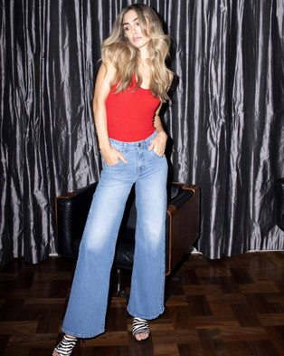 Love and Nostalgia - Kate Wide Leg Jeans - High-Waisted (Blue Denim) Kate Wide Leg Jeans