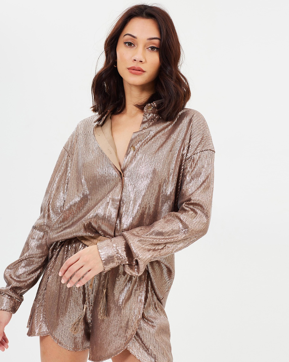 Missguided Sequin Shirt Tops Bronze Sequin Shirt