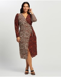 Missguided Curve - Mix Print Long Sleeve Wrap Dress