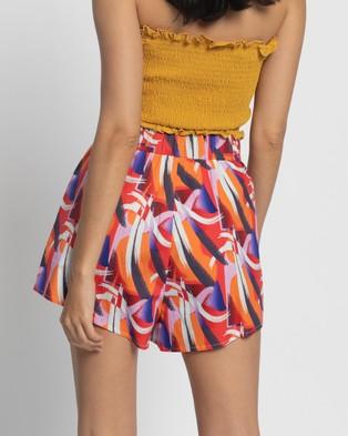 Glamorous High Waisted Print Shorts - High-Waisted (Multi Art Print)