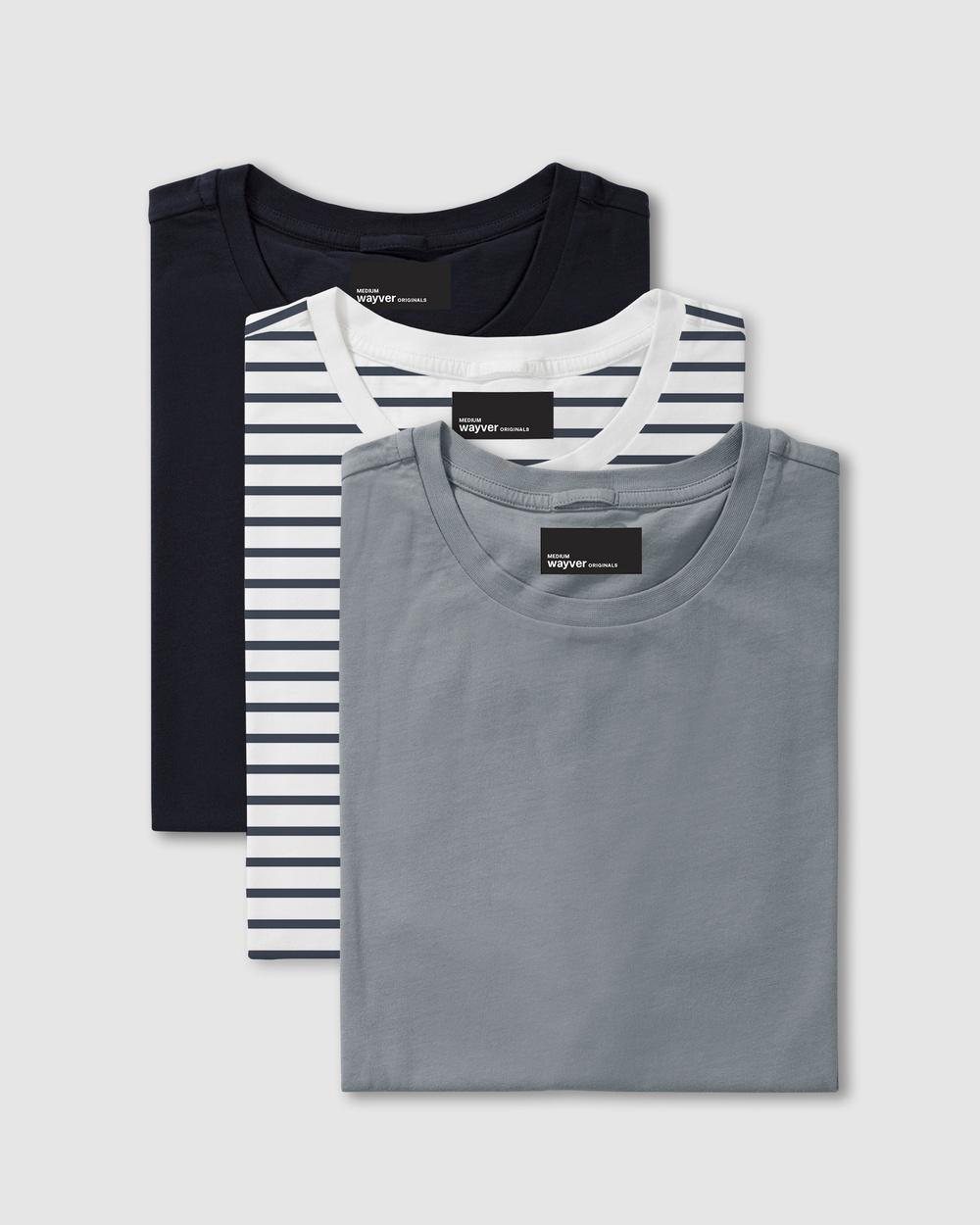 Wayver - The Essential Crew Tee 3 Pack - Short Sleeve T-Shirts (Navy, Indigo Stripe & Steel) The Essential Crew Tee 3-Pack
